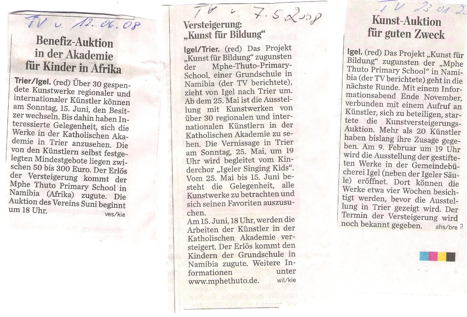TV-Berichte Kunst für Bildung 2008